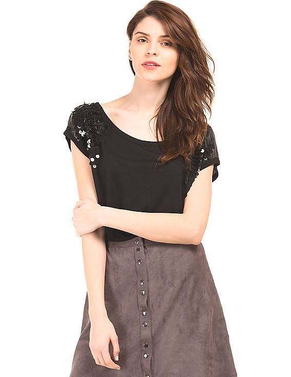 Flat 50% KAZO - WOMEN By Nnnow | KAZO Sequin Embellished Top @ Rs.845