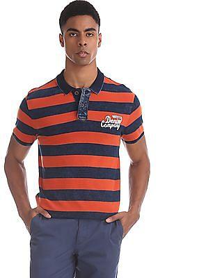 U.S. Polo Assn. Denim Co. Navy And Orange Regular Fit Striped Polo Shirt