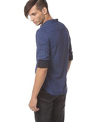 Flying Machine Mandarin Collar Slim Fit Shirt