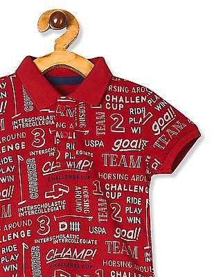 U.S. Polo Assn. Kids Red Boys Text Print Pique Polo Shirt