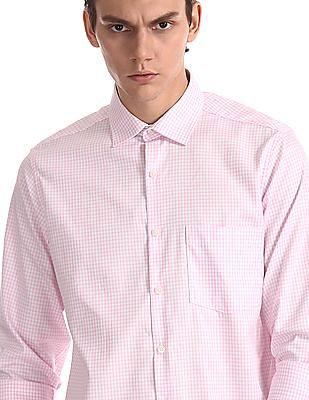 Excalibur Pink Mitered Cuff Check Shirt