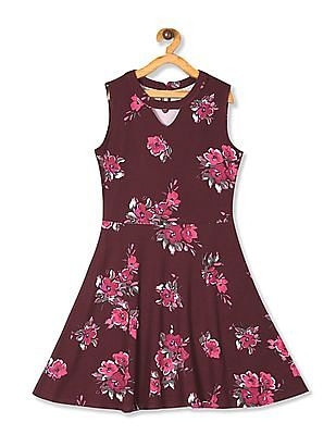 The Children's Place Girls Red Sleeveless Floral Print Ponte Knit Dress