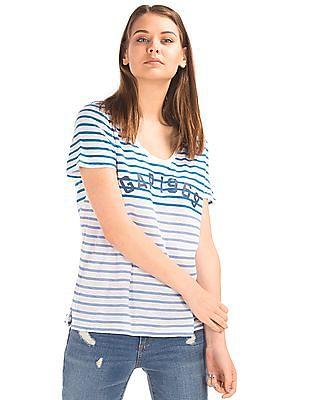 GAP Women White Stripe Logo Tee