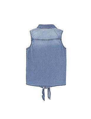 U.S. Polo Assn. Kids Girls Sleeveless Printed Shirt