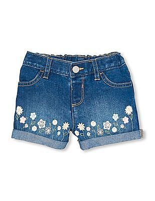 The Childrens Place Toddler Girl Floral Embroidered Shorts
