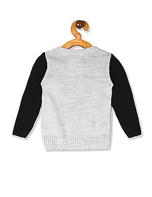 Donuts Grey Boys Crew Neck Embroidered Sweater