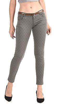 Cherokee Grey Belted Printed Trousers