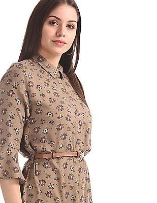 U.S. Polo Assn. Women Brown Floral Print Shirt Dress