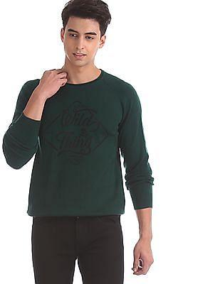 Ed Hardy Green Raglan Sleeve Brand Print Sweater