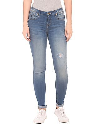 U.S. Polo Assn. Women Super Skinny Fit Whiskered Jeans
