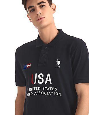 U.S. Polo Assn. Blue Brand Embroidered Pique Polo Shirt