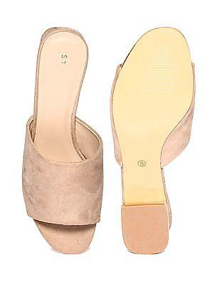 Stride Beige Block Heel Open Toe Sandals