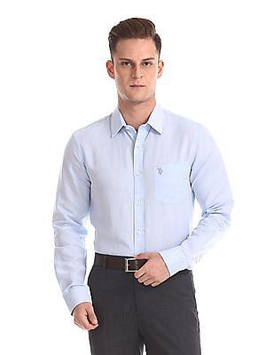 USPA Tailored Long Sleeve Linen Cotton Shirt