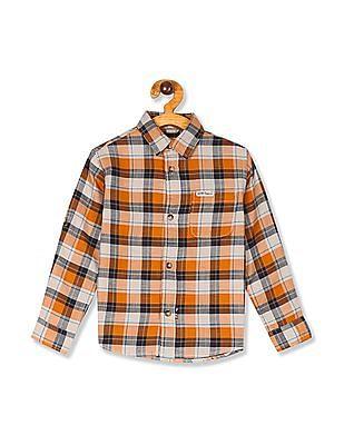U.S. Polo Assn. Kids Orange Boys Rounded Cuff Check Shirt