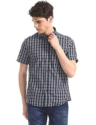 Ruggers Blue Semi Cutaway Collar Check Shirt