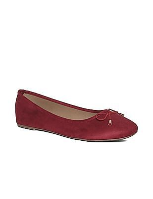 SUGR Red Bow Accent Round Toe Ballerinas