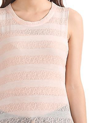 Elle Patterned Knit Sleeveless Top