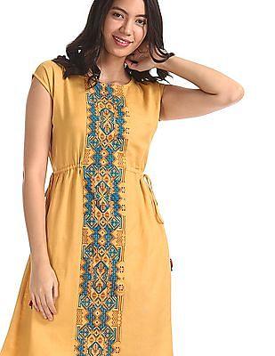 Bronz Yellow Round Neck Drawstring Waist Dress
