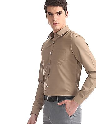 Excalibur Brown Regular Fit Solid Shirt