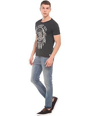 Ed Hardy Graphic Print Raw Edge T-Shirt