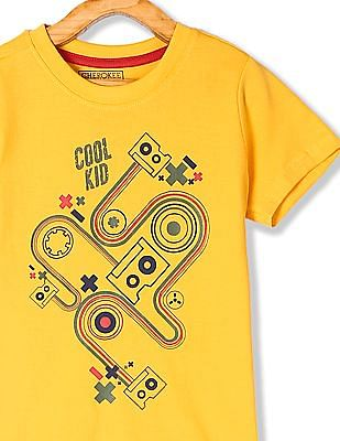Cherokee Yellow Boys Printed Front T-Shirt