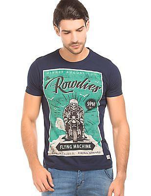 Flying Machine Biker Print Regular Fit T-Shirt