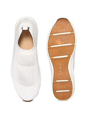 Stride White Knitted Upper Slip On Shoes