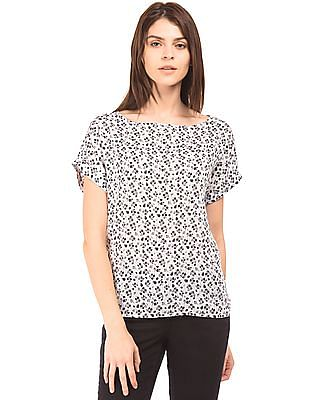 U.S. Polo Assn. Women Floral Printed Boat Neck Top