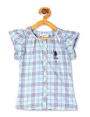 U.S. Polo Assn. Kids Girls Cap Sleeve Check Top