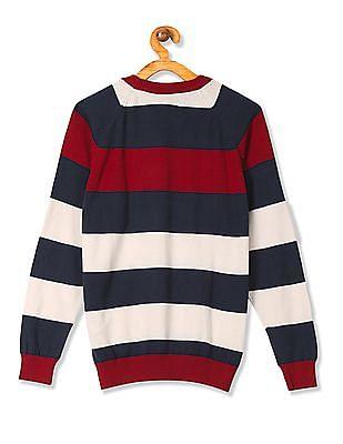 U.S. Polo Assn. Kids Boys Striped Crew Neck Sweater