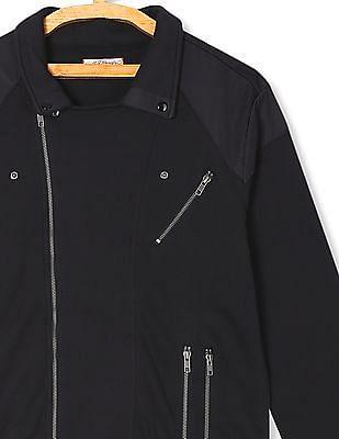 Ed Hardy Panelled Knit Biker Jacket