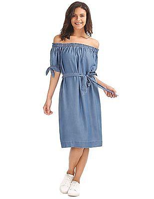 GAP Women Blue Off Shoulder Midi Dress