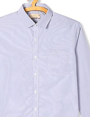 Excalibur Blue Regular Fit Stripe Shirt