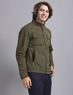 True Blue Green Solid Utility Jacket