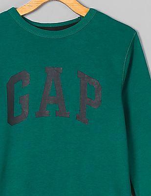 GAP Boys Green Printed Crew Neck Sweatshirt