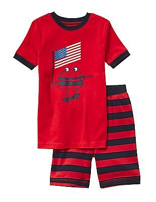 GAP Boys Red Americana Star Short Sleep Set
