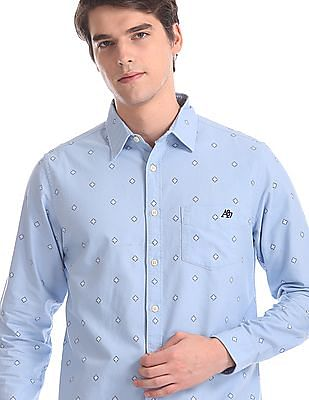 Aeropostale Blue Spread Collar Printed Shirt