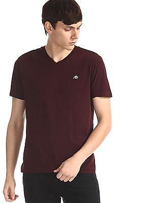 Aeropostale Purple V-Neck Cotton Jersey T-Shirt