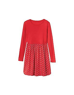 GAP Girls Red Mini Heart Mix Fabric Dress