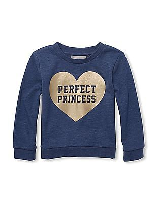 The Children's Place Toddler Girl Blue Active Long Sleeves Foil Graphic Sweatshirt