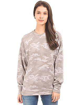 Aeropostale Camo Print Boxy Sweatshirt