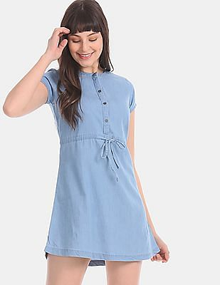 Aeropostale Blue Chambray Fit And Flare Dress