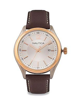 Nautica Leather Strap Chronograph Watch