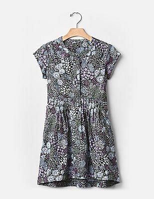 GAP Girls Multi Colour Floral Pintuck-Waist Dress