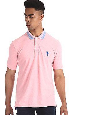 U.S. Polo Assn. Pink Tipped Collar Pique Polo Shirt