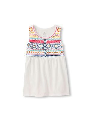 The Children's Place Girls White Sleeveless Embroidered Top