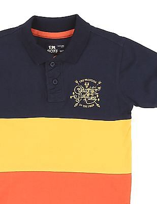 FM Boys Boys Colour Block Pique Polo Shirt