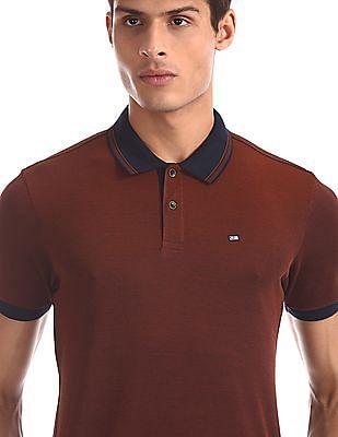 Arrow Sports Orange Mercerized Cotton Two Tone Polo Shirt