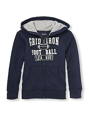 The Children's Place Boys Active Long Sleeve Athletic Graphic Zip-Up Hoodie
