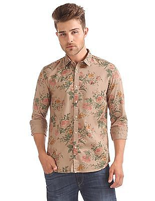 Ed Hardy Floral Printed Slim Fit Shirt